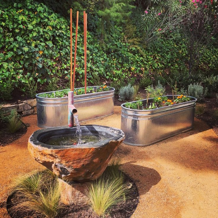 A Galvanized Tub Veggie Garden With Dg Decomposed Granite