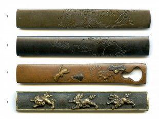 37 4 Kozuka Japan L 9,8 cm.   Provenienz: Carlo Monzino (1931-1996), Castagnola.  a: gemäss Sotheby's London (Juni 1996, Lot 342): Shibuichi-Kozuka. Im Stil von Yokoya Somin und Soyo. Edo-Zeit (18./19. Jh.). Signiert: Soyo.  b: gemäss Sotheby's London (Juni 1996, Lot 341): Shakudo-Kozuka. Im Stil von Yokoya Somin und Soyo. Edo-Zeit (18./19. Jh.). Signiert: Soyo.  d: gemäss Sotheby's London (Juni 1996, Lot 221): Shakudo-Kozuka. Goto-Schule.