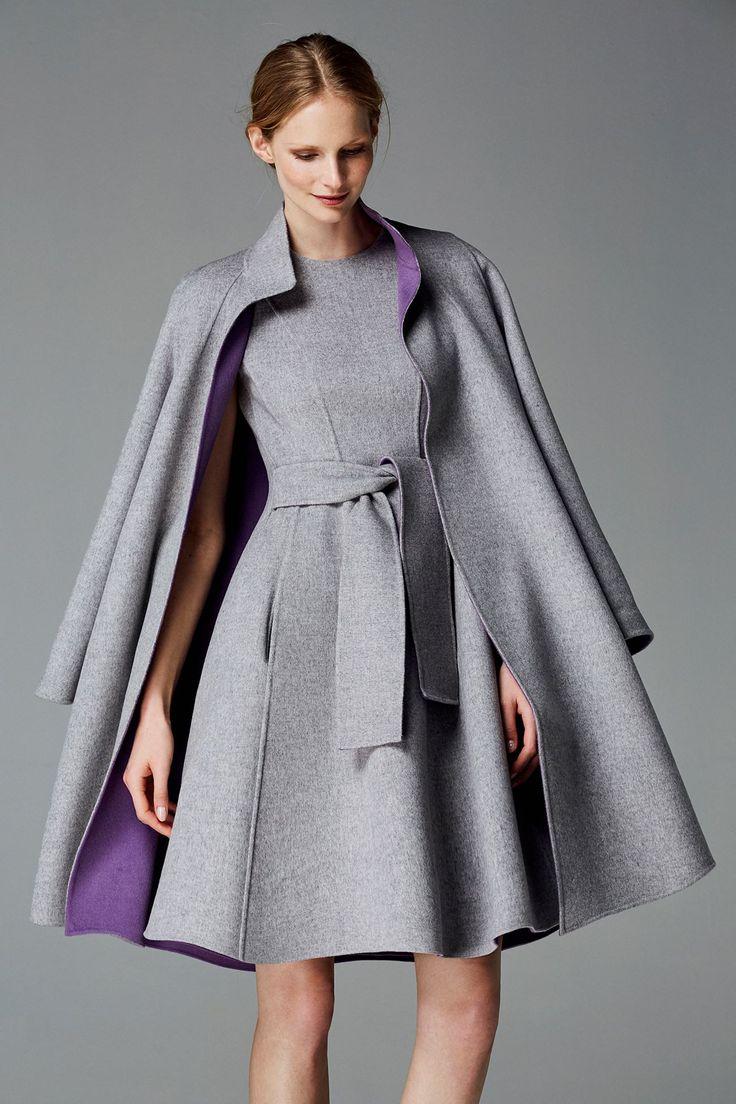 CH Carolina Herrera Fall 2016 grey wool coat and dress. Debuted Nov 2016