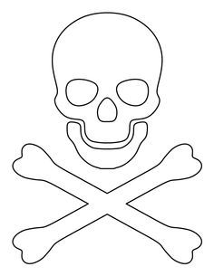 Crossbones pattern. Use the printable outline for crafts, creating stencils, scrapbooking, and more. Free PDF template to download and print at http://patternuniverse.com/download/crossbones-pattern/