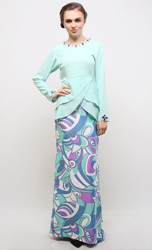 Mayaa Peplum Kurung in Green and Purple