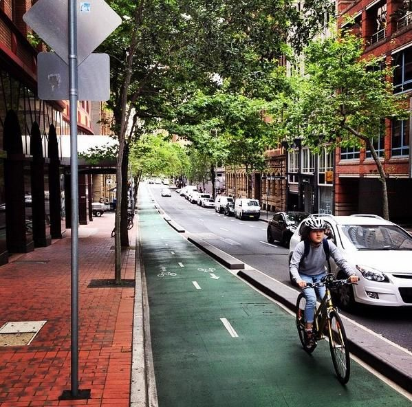 Protected bike lane, Kent St., Australia. Click image to tweet via Placefocus and visit the slowottawa.ca boards >> http://www.pinterest.com/slowottawa/