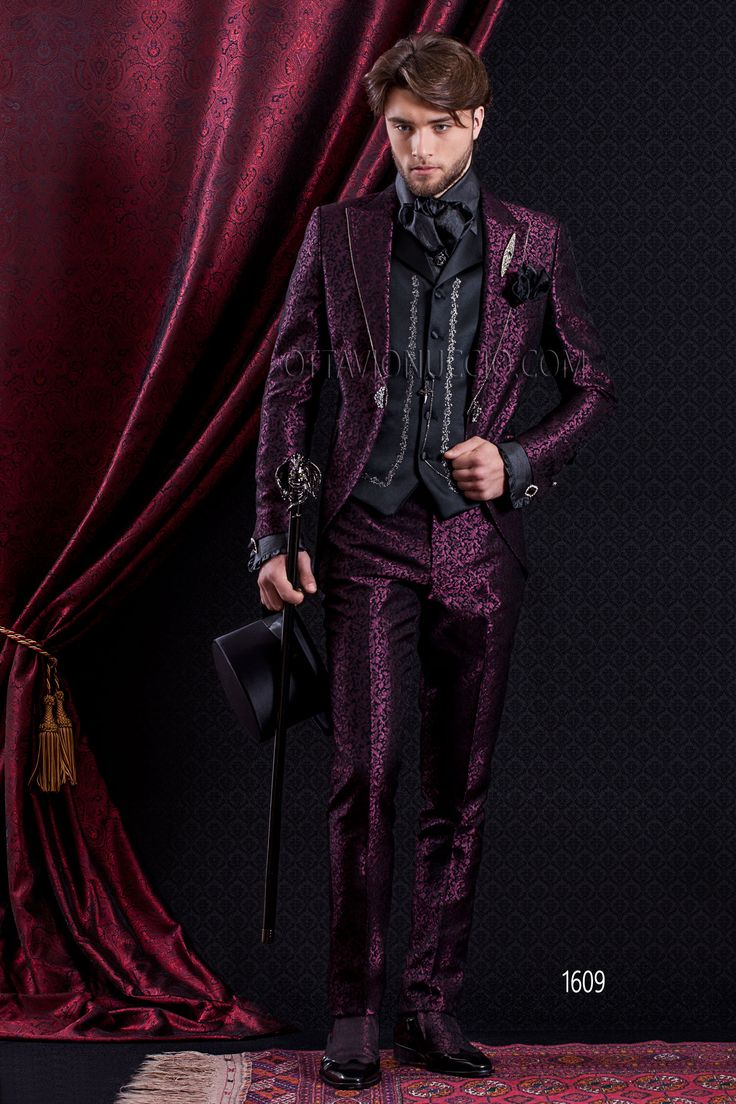 """Baroque short tail slim fit groom suit in purple jacquard with embroidered vest"" @ www.ottavionuccio.com"