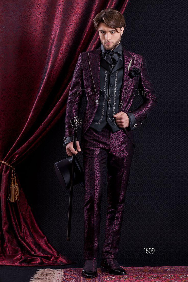 """Baroque short tail slim fit groom suit in purple jacquard with embroidered vest"" @ www.ottavionuccio.com"