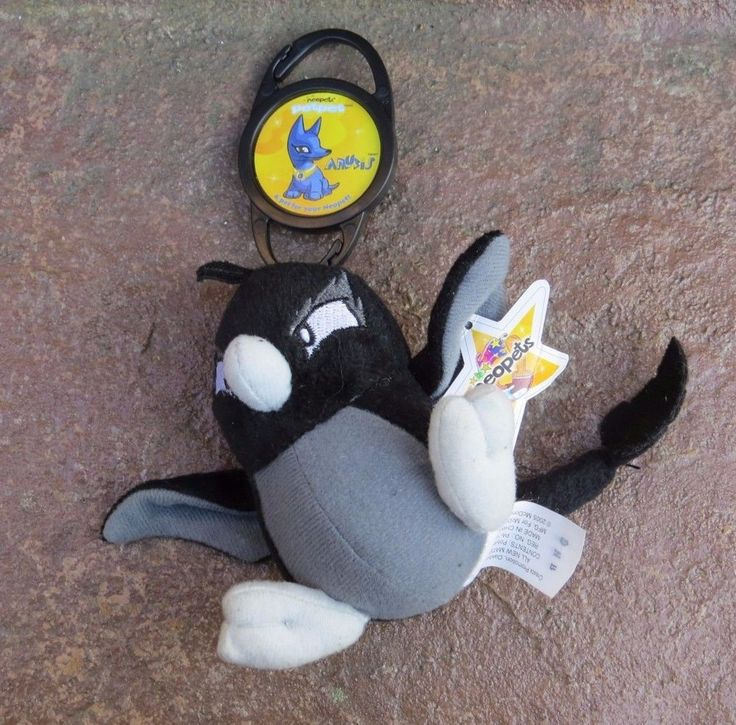 Neopets BLACK Shadow Pteri McDonalds Happy Meal Toy Plush Star Tag Bookbag Clip #Neopet