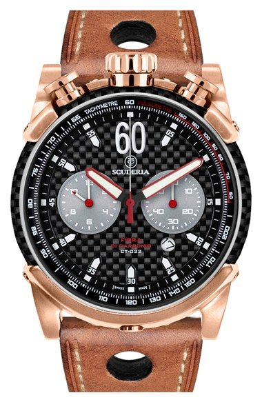 CT Scuderia 'Fibra di Carbonio' Chronograph Leather Strap Watch, 44mm available at #Nordstrom