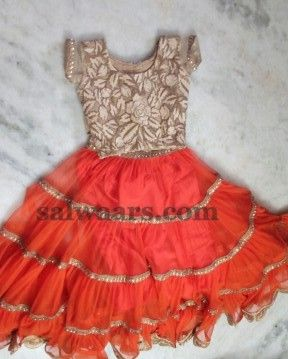 Orange Pleats Net Weave Lehenga - Indian Dresses