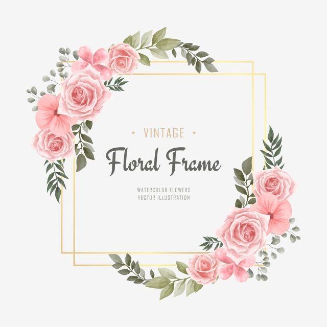 Watercolor Floral Flower Frame Golden Background Background