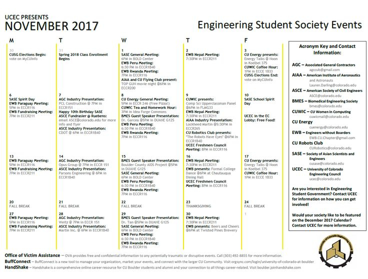 Are you interested in becoming more involved in engineering student groups?  Here are November 2017 Engineering Student Society Events  #CUBoulder #Engineering