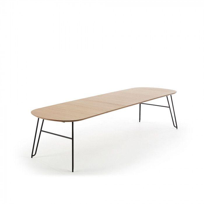 Table Ovale Extensible Avec Plateau En Plaque De Chene Naturel Pieds En Metal Noir Deux Extensions De 40 Cm Longueur Table Ovale Table Extensible Bois Metal