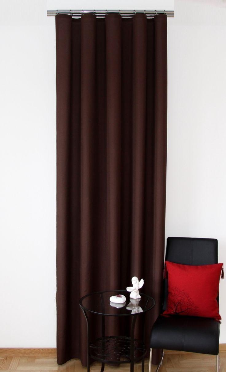 Ozdobne zasłony gotowe w kolorze brązowym