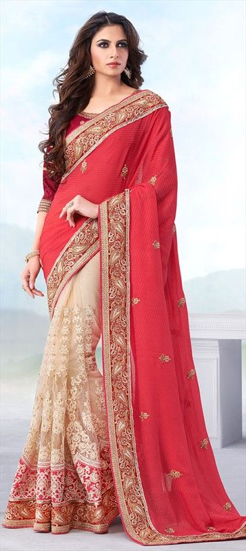CORAL COLORS FOR SPRING - Shop now at flat 15% off + free shipping.  #saree #Colorblock #springsummer #Partywear #lace