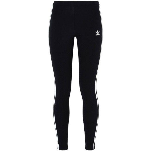 Adidas Originals Leggings ($45) ❤ liked on Polyvore featuring pants, leggings, black, cotton elastic waist pants, legging pants, stripe leggings, cotton jersey and striped leggings