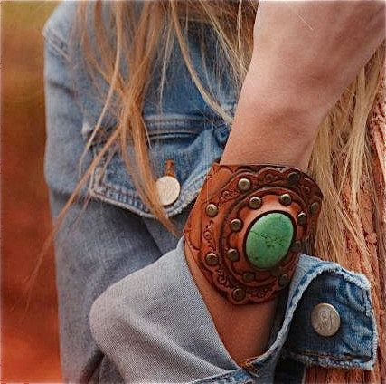 Tooled Leather Boho Cuff Green Turquoise Stone Tooled Design Wide Boho Karen Kell Collection. $83.00, via Etsy.
