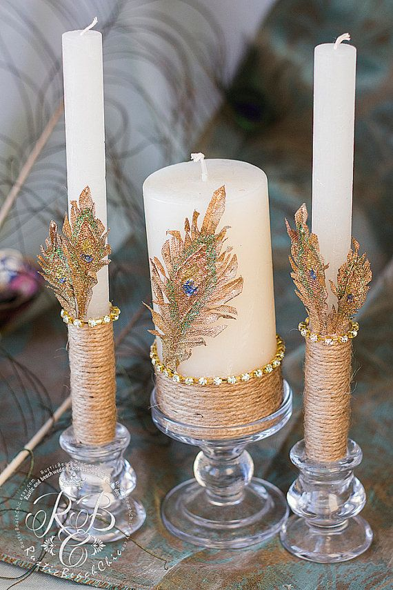 Personalized Wedding Candle Rustic Unity Ceremony Pillar Peacock Feather Gold Set Barn 3pcs