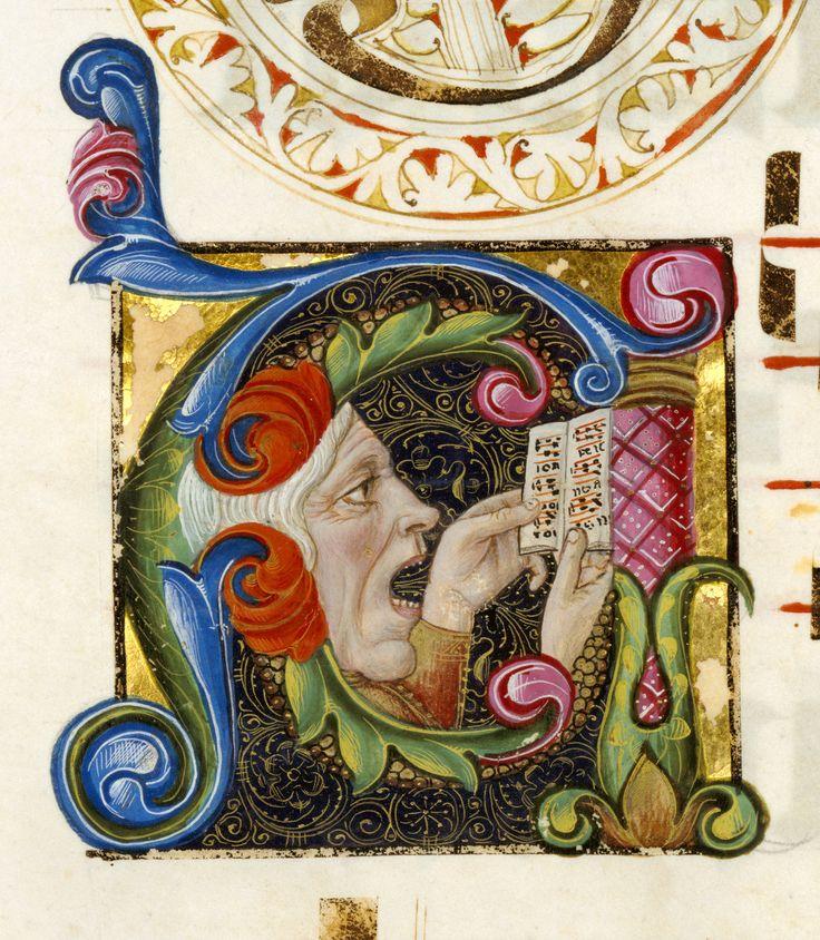 """Iniziale """"A"""" raffigurante un uomo che canta, tratta da Graduale (Italia, 1460 – 1480), Getty Museum, Los Angeles. Tweet Articoli correlatiINTRECCIO DI DRAGHIDUE BOSCAIOLI E UNA CICOGNALETTERALMENTE FOLLEUNA PAUSA NEL BOSCOGIULLARE GIACOBINOIL DRAGO E MARGHERITA Commenti commenti"""
