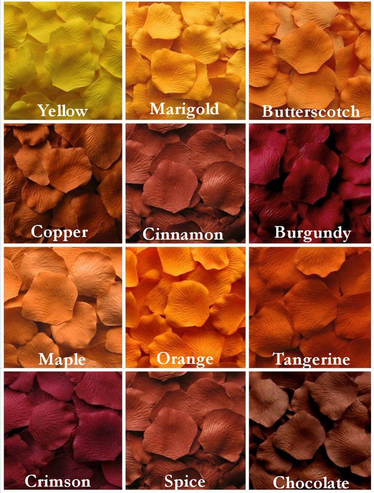 500 Fall Silk Rose Petals, Autumn Silk Rose Petal Mix, Fall Wedding Decor, Fall Wedding Aisle Runner, Fall Wedding, Artificial Rose Petals by LittleThingsFavors on Etsy https://www.etsy.com/listing/239139742/500-fall-silk-rose-petals-autumn-silk