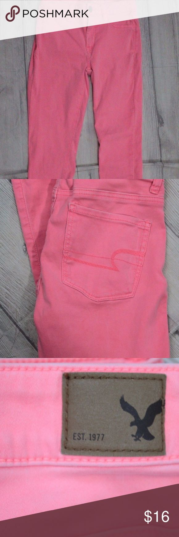 "American Eagle Outfitters Womans Jeggings Size 4 Brand: American Eagle Outfitters Jeggings Leggings Size: 4 Stretch Color: Pastel Orange Low Rise  Condition: Good preowned  Item Specifics  Material: Cotton  Waist: 28""  Length: 32""  Inseam: 23""  Rise: 9""     THESE ARE A VERY BRIGHT PASTEL ORANGE American Eagle Outfitters Jeans Skinny"