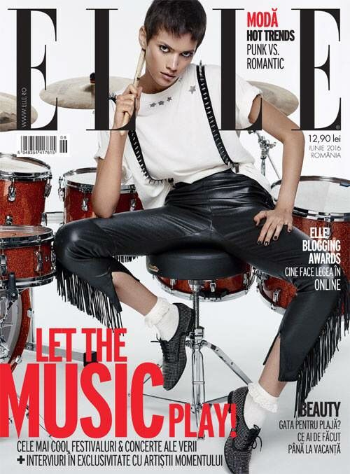 Our black leather suspenders with silver spikes was featured in the June issue of Elle Magazine #ElleMagazine #Fashion #FashionEditorial