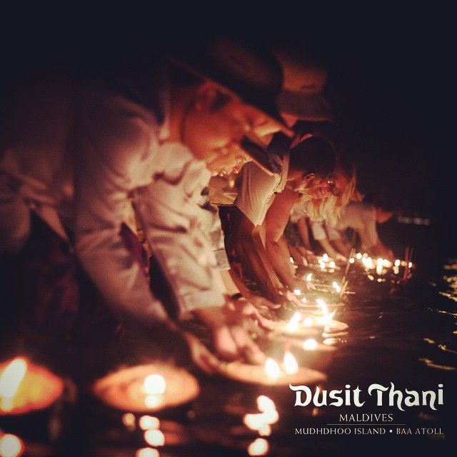 Loy Krathong is one the most beautiful festivals in Thailand, held during the full moon of the 12th month in the traditional Thai lunar calendar. Thai people created this merriment to honor the river – being an infinite source for their daily lives. Loy means to float, while krathong is the cup traditionally made of banana leaves, shaped to appear like a lotus flower. #loy #learning #maldives #DusitThaniMV #DusitRhani #thai #traditional #festival #culture #lights #water #2014