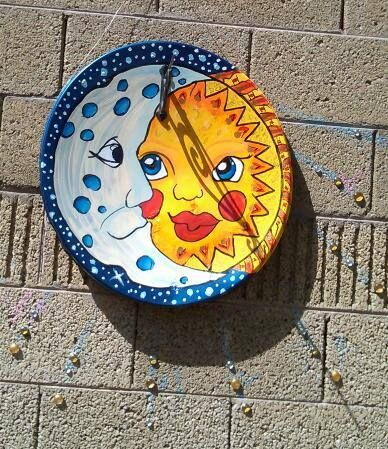 Gayle w made a sundial for her garden wall out of my old for Craft ideas for old dishes
