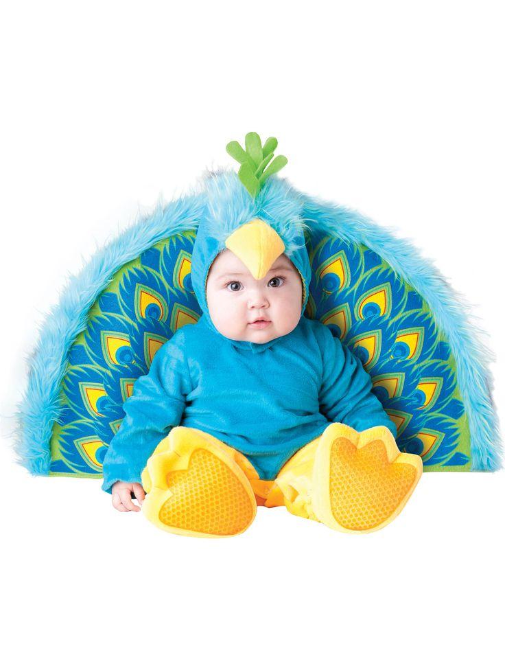 Déguisement Paon pour bébé - Premium : Ce déguisement pour bébé est composé d'une combinaison, d'une cagoule, d'une paire de chaussons et d'une queue.La combinaison est majoritairement...