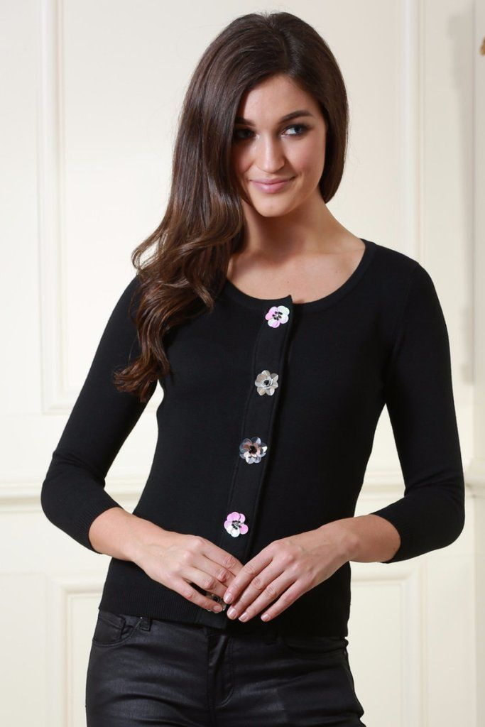 Janet Black Cardigan with Flower Sequin Buttons