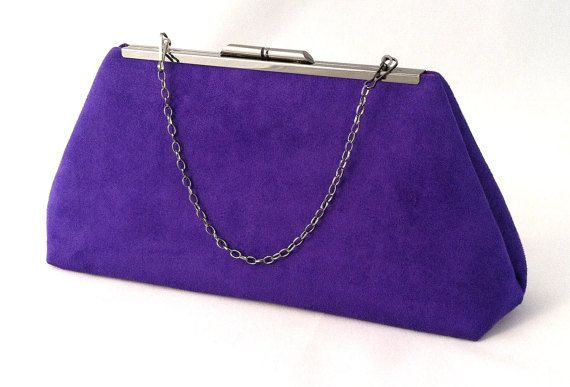 Purple Suede Clutch  Purple Handbag   Purple Brides by EVClutches