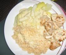 Puten-Rouladen mit Pesto , Gemüse und Reis...