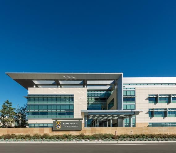 The building architecture reflects the strong, clean, and classic values of the Navy and Marine Corps. Photo: Ed LaCasse.