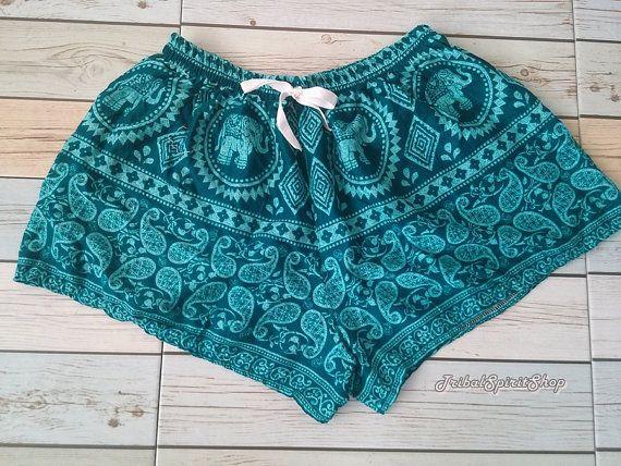 Green Elephant Shorts Print Boho Hobo Beach by TribalSpiritShop