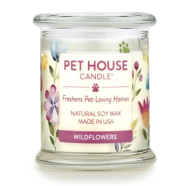 Wildflowers is a delightful arrangement of green fields of heather, hyacinth, carnations and lily of the valley. 100% Soy Wax Pet Odor Candle. Made in the USA
