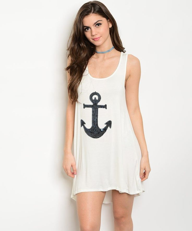 Nautical White Sequined Anchor Jersey Tunic Dress