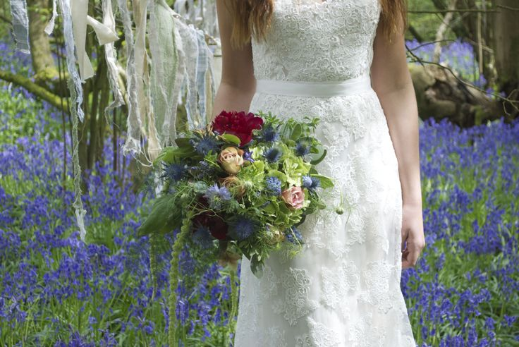 Dress from www.bridalb.com  Bridal bouquet of green Hydrangea, Upper Secret Roses, Green Amaranths, Muscari, Euringium, dried Lavender, and red Peonies, designed and created by www.hannahberryflowers.co.uk