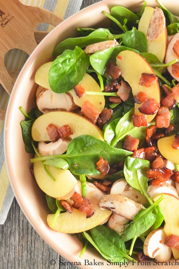 Fuji Apple Spinach Bacon Salad With Creamy Honey Mustard Vinaigrette serenabakessimplyfromscratch.com