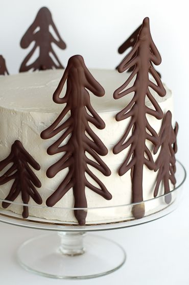 forest winter tree cake chocolate