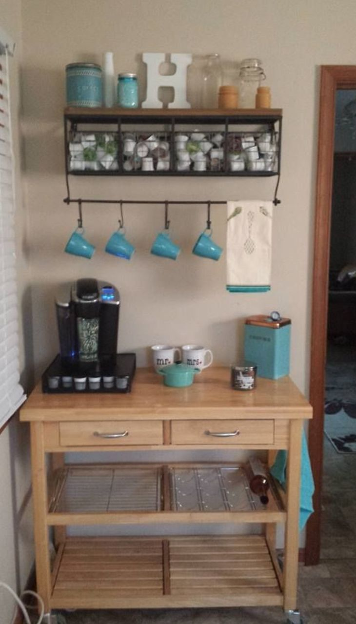 love this idea of having a coffee bar in the kitchen breakfast room - Ideas For Kitchen Decorating Themes