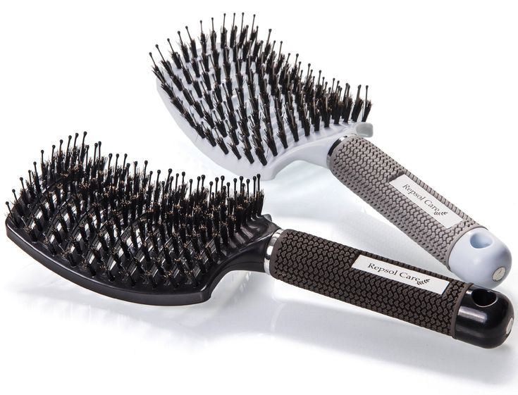 Boar Bristle Hair Brush - Curved and Vented Detangling Hair Brush for Women Long, Thick, Thin, Curly & Tangled Hair