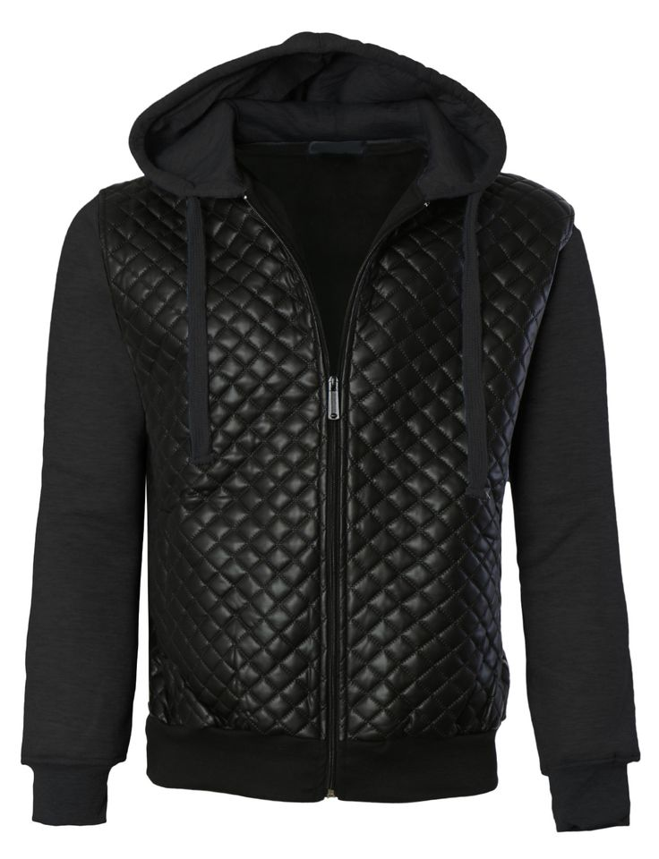 Leather jacket with hoodie underneath