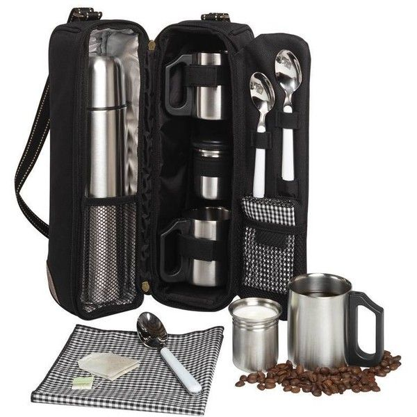 Picnic at Ascot Vienna Coffee Tote For 2 -black Black W/gingham By ($55) ❤ liked on Polyvore featuring home, kitchen & dining, food storage containers, sporting goods, black food storage containers, black flask, tea flask, coffee flask and picnic at ascot