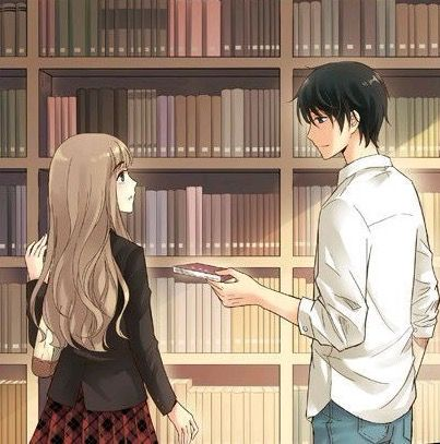 Anime couple in the library