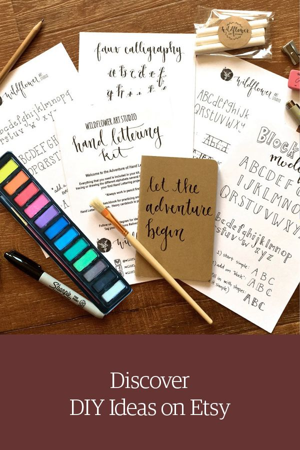 Hand lettering kit. Starter set for beginner calligraphy. Shop DIY craft projects on Etsy.