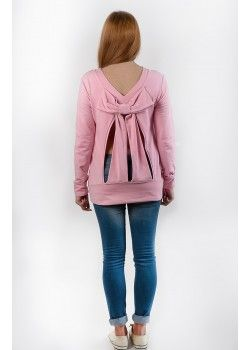 1977 By Social Chic Top with open back bow baby pink.
