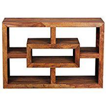 FineBuy Bücherregal Massiv Holz Sheesham 105 X 70 Cm Wohnzimmer Regal  Ablagefächer Design Landhaus