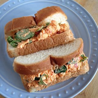Lunch: leftovers of the Best Pimento Cheese Ever (with arugula) from Poppyseed Market