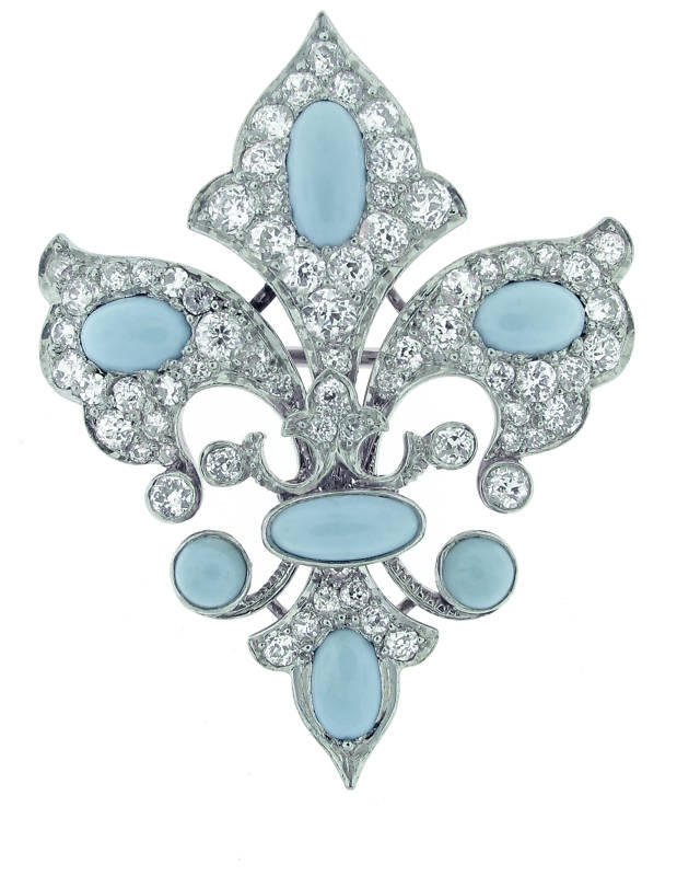 Belle Epoque Diamond and Turquoise Pin/Pendant I am in love with this shade of turquoise, it is exceptional !