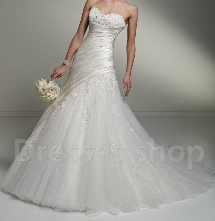 White/Ivory tulle Offshoulder Bridal Ball Gown by Dressesshop, $168.00