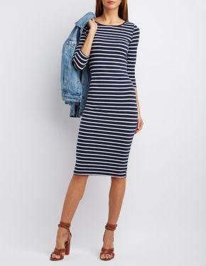 Three Quarter Sleeve Midi Dress #CharlotteLook