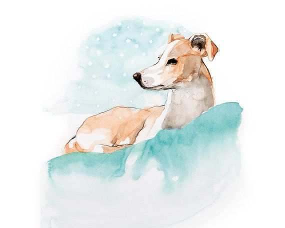 Printable wall art painting/ dog portrait/ by WatercolorsByOli