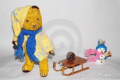 Teddy bear Morulet to toboggan. The bear is bought from the supermarket 50 years ago.